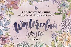Watercolor Procreate 6 Brush Bundle