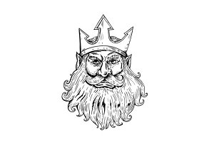 Poseidon Wearing Trident Crown