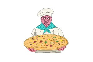 Zombie Chef Holding Pizza Pie