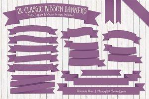 Amethyst Ribbon Banner Clipart