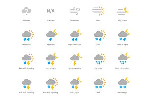 Meteorology colored icons