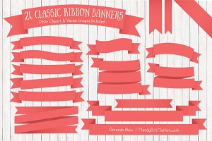 Coral Ribbon Banner Clipart