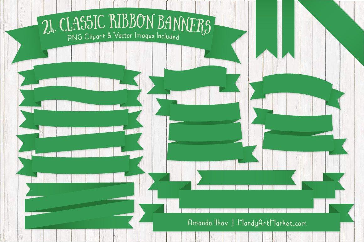 Green Ribbon Banner Clipart ~ Illustrations ~ Creative Market