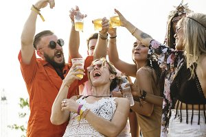 Diverse people enjoy party