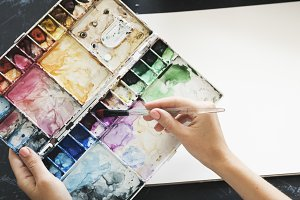 Artist Painting Colors Stationery
