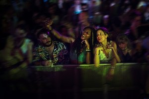 Diverse people enjoying live concert