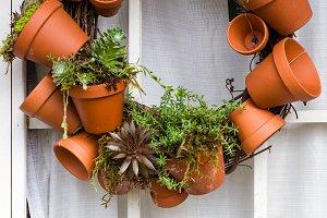 Wreath of clay pots