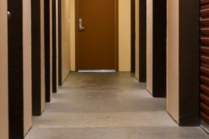 Storage locker hallway and doors
