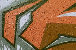 Orange Old Weathered Graffiti Wall