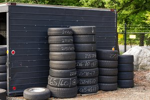 Automobile tires stacked
