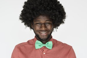 Smiling man with big afro hair