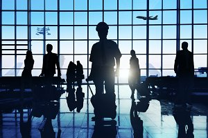 Business people traveling