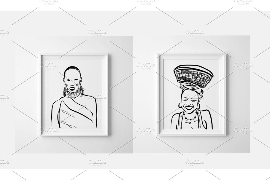 African figures collection in Illustrations - product preview 1