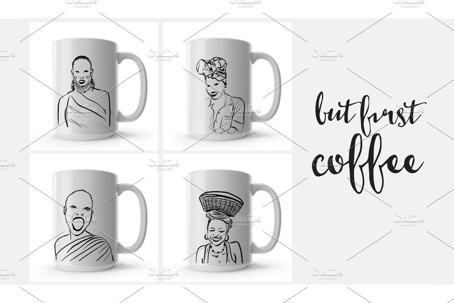 African figures collection in Illustrations - product preview 2