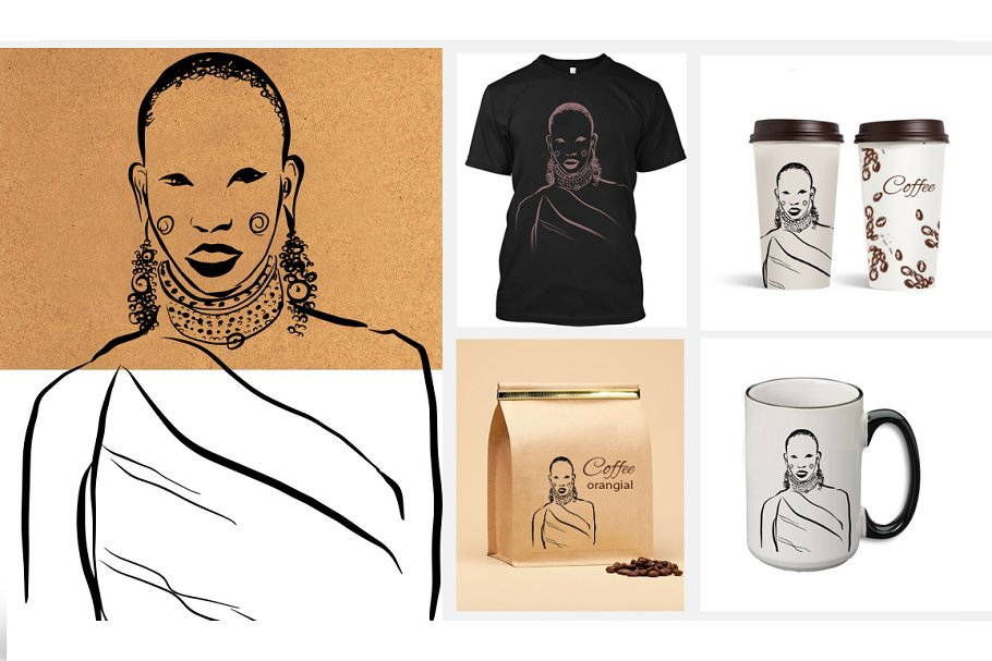 African figures collection in Illustrations - product preview 3