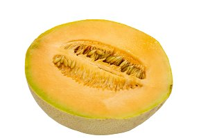 Cantaloupe half on white