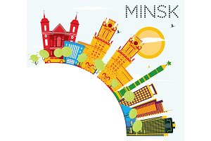 Minsk Skyline with Color Buildings