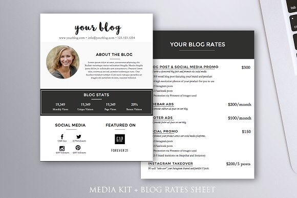 media kit blog rates word template stationery templates