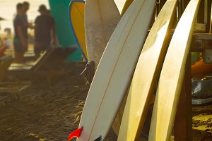 Surfboards for rent on Bali