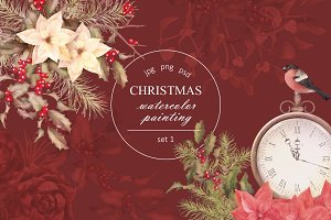 Watercolor Christmas Set 1