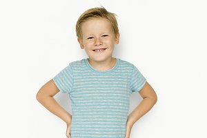 Kid studio shoot on white background