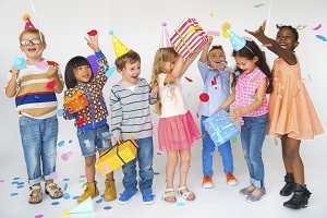 Happy kids having birthday party