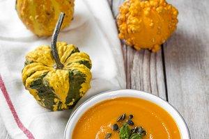Cream of pumpkin in bowl
