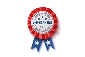 Veterans Day badge. Realistic, patriotic award ribbon.