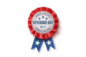 Veterans Day badge. Realistic, patriotic award ribbon.