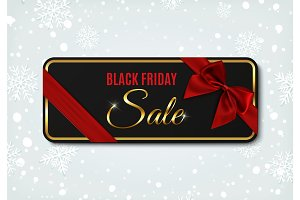 Black Friday sale banner with ribbon and bow.