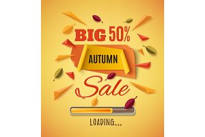 Big autumn sale banner with abstract leafs.