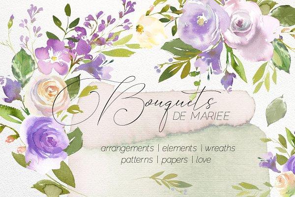Bouquets de Mariee Watercolor Set