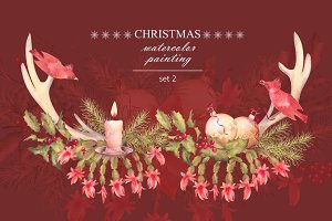 Watercolor Christmas Set 2