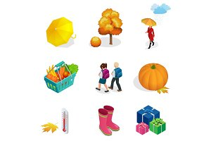 Isometric Autumn icon and objects set for design pumpkin, thermometer, woman with an umbrella in the rain, children with school backpacks, autumn tree, rubber boots, basket with vegetables and fruits