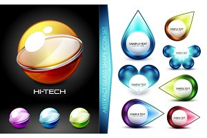Set of hi-tech futuristic techno sphere icons and logos with message