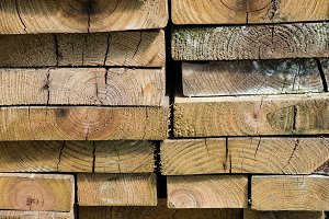Lumber cut into boards