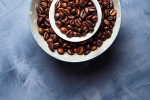 Whole Coffee beans in bowl