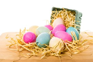 Basket with dyed eggs