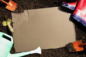 Blank cardboard with farming tools