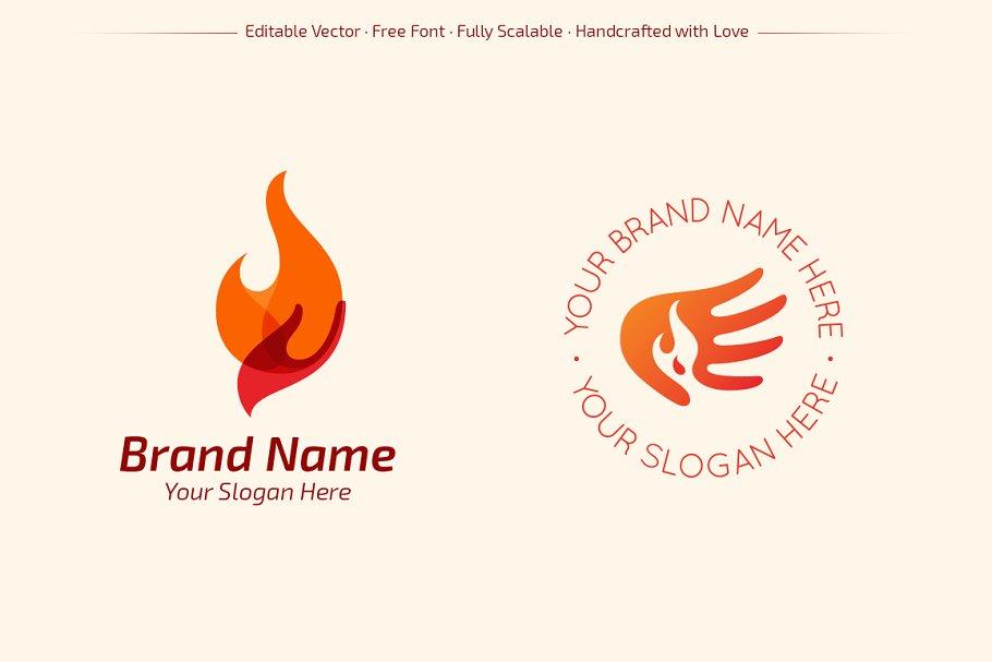 Hands of Fire Logos ~ Logo Templates ~ Creative Market