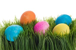 Dyed eggs in grass