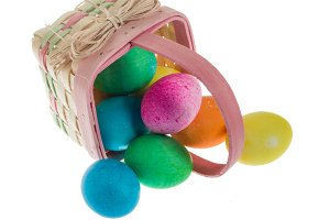 Wicker Easter basket with eggs
