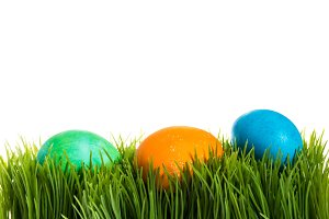 Grass with Easter eggs