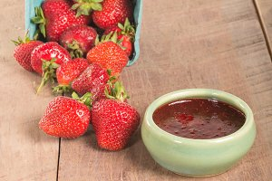Strawberries and fresh preserves