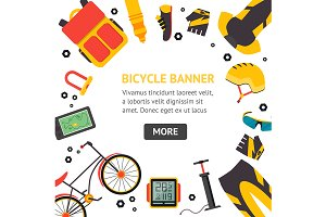 Bicycle Accessories  Banner Set.