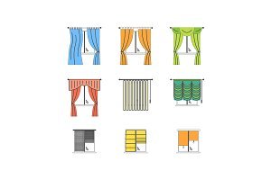Curtains Color Thin Line Set. Vector