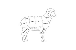 Lamb Meat Thin Line Farm Animal