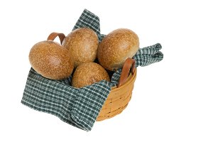 Basket of baked rolls
