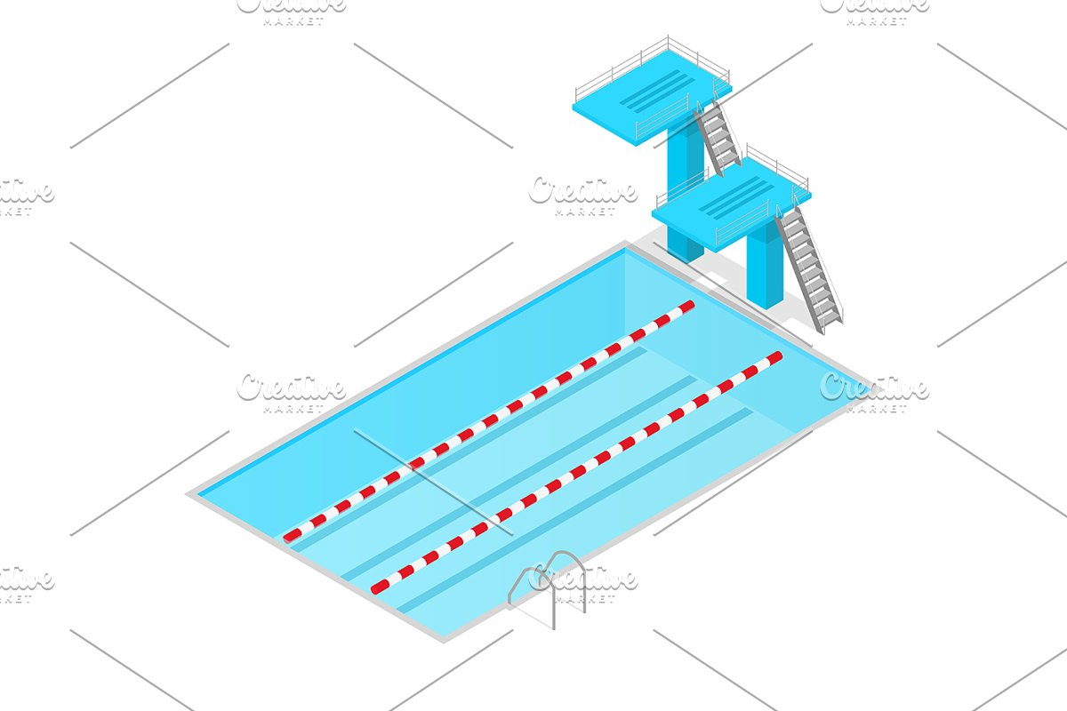 Swimming Pool Isometric ~ Graphic Objects ~ Creative Market