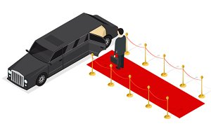 Limousine and Red Carpet Isometric